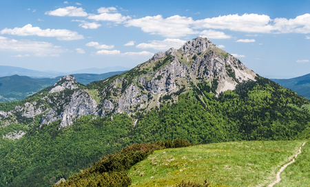 rocky dolomitian and limestone Velky and Maly Rozsutec hills from Poludnovy grun hill in Mala Fatra mountains in Slovakia