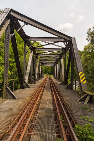 railway track with bridge above Weisse Elster river near Plauen city in Germany 版權商用圖片