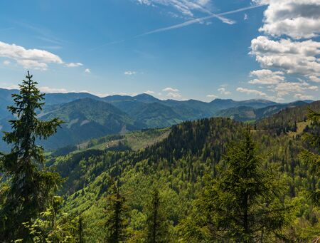 view from Chladkove hill between Klak hill and sedlo Prislop mountain pass in springtime Velka Fatra mountains in Slovakia