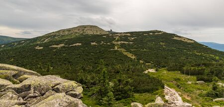 View to Velky Sisak, Vysoke kolo and Vysoka plan hills from Muzske kameny in Krkonose mountains on czech-polish borders 版權商用圖片