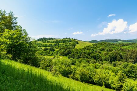 Beautiful springzime Biele Karpaty mountains near Vrsatske Podhradie village in Slovakia with hills covered by mix of meadows and forest and blue sky with few clouds