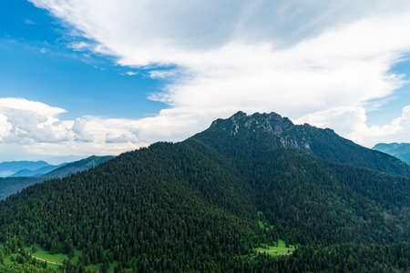 Rocky Velky Rozsutec hill with few other hills around from Maly Rozsutec hill summit in Mala Fatra mountains in Slovakia