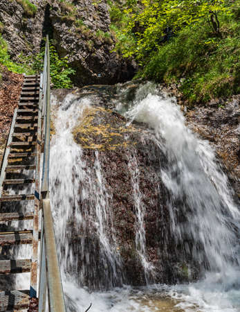 Amazing Horne diery gorge with waterfall and ladder in Mala Fatra mountains in Slovakia