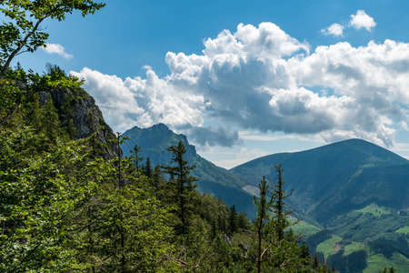 Rocky Velky Rozsutec and Stoh from hiking trail bellow Boboty hill summit in Mala Fatra mountains in Slovakia