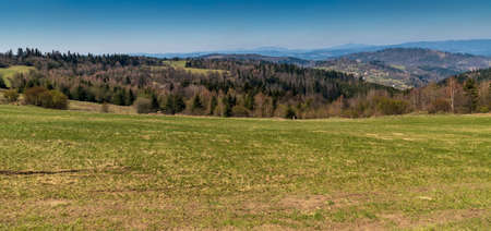 View from Vrchrieka hill in Javorniky mountains in Slovakia during beautiful springtime day with clear sky