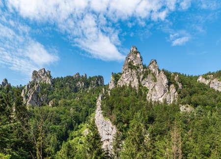 Mala Fatra mountains above Vratna dolina valley near Terchova village in Slovakia with limestone rocks and trees Reklamní fotografie