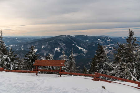 Radhost, Knehyne, Smrk and many other hills  from Lysa hora hill in winter Moravskoslezske Beskydy mountains in Czech republic Reklamní fotografie
