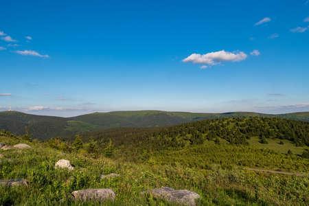 Praded, Petrovy kameny, Vysoka hole and Vresnik hills from Dlouhe strane hill summit in Jeseniky mountains in Czech republic