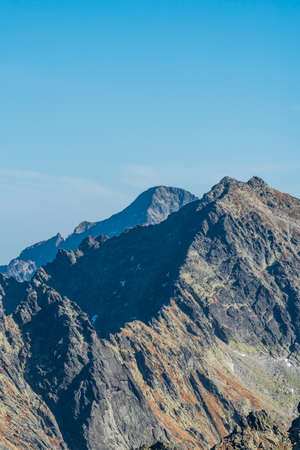 Rysy and Ladovy stit mountain peak in Vysoke Tatry mountains in Slovakia during beautiful autumn day