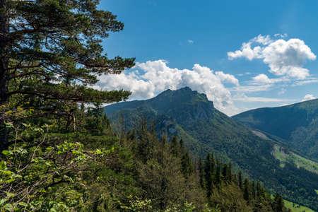 Rocky Velky Rozsutec from Boboty hill in Mala Fatra mountains in Slovakia