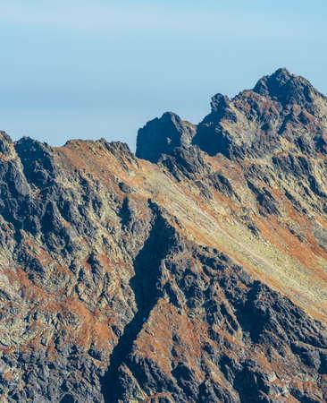 Niznie Rysy mountain peak in High Tatras mountains on polish - slovakian borders during beautiful autumn day