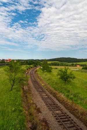 Curving railway track with hilly surrounding near Valaske Prikazy village in Czech republic Reklamní fotografie