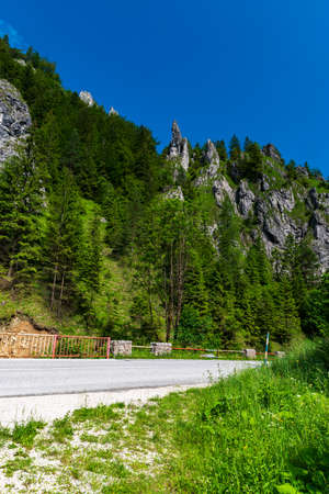 Vratna dolina valley with road and rocks above in Mala Fatra mountains in Slovakia during summer morning with clear sky