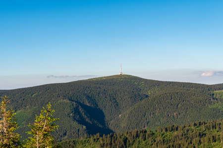 Praded from Dlouhe strane hill in Jeseniky mountains in Czech republic during summer evening