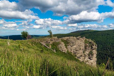 Sokoli skala rock formation on Sokol hill in Jeseniky mountains above Vidly settlement in Czech republic
