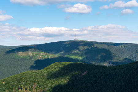 Praded hill from Rysi skala rock formation in Jeseniky mountains in Czech republic Reklamní fotografie
