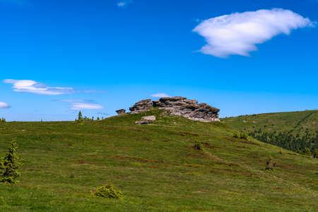 Petrovy kameny rock formation in Jeseniky mountains in Czech republic Reklamní fotografie