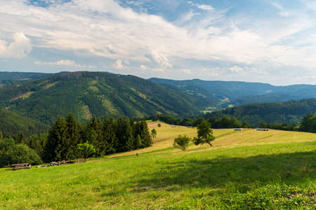 Beautiful Moravskoslezske Beskydy mountains scenery from Kamenite hut above Horni Lomna village in Czech republic during summer afternoon