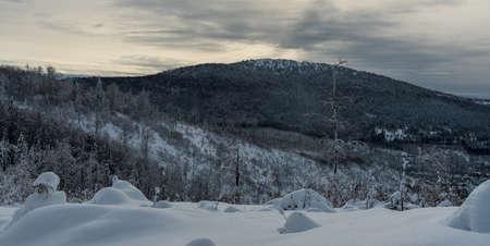 Velka Raca - highest hill of Kysucke Beskydy mountains on slovakian - polish borders during freezing winter day