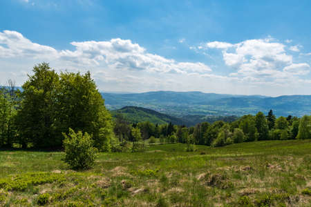 Beautiful view from meadow bellow Filipka hill summit in Slezske Beskydy mountains in Czech republic during springtime day with blue sky and clouds