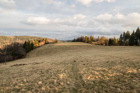 Late autumn meadow on Loucka hill with hills covered by forest around and blue sky with clouds in Czech republic