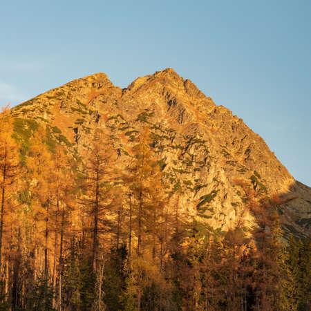 Predne and Mlynicke Solisko mountain peaks on Soliskovy hreben mountain ridge in Vysoke Tatry mountains in Slovakia during autumn morning