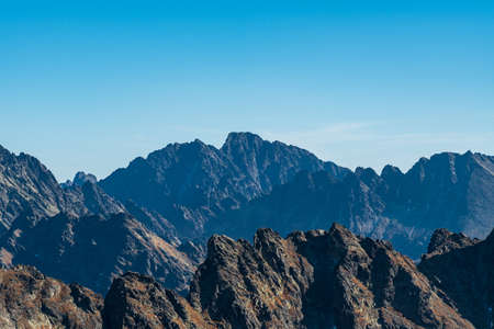 Amazing autumn Vysoke Tatry mountains with highest Gerlachovsky stit, Koncista and few other mountain peaks in Slovakia