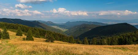 View from Revan hill above Fackovske sedlo in Mala Fatra mountains in Slovakia during summer afternoon