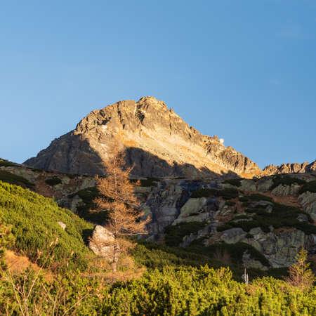 Strbsky stit mountain peak from Mlynicka dolina valley in Vysoke Tatry mountains in Slovakia during autumn morning Reklamní fotografie