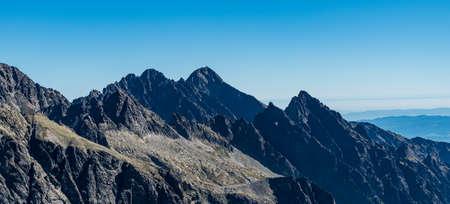 Vie to Lomnicky stit, Pysny stit, Javorovy stit and Prostredny hrot from Vychodna Vysoka mountain peak in Vysoke Tatry mountains in Slovakia