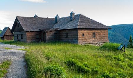Wooden Frantiskova myslivna hut in Jeseniky mountains in Czech republic
