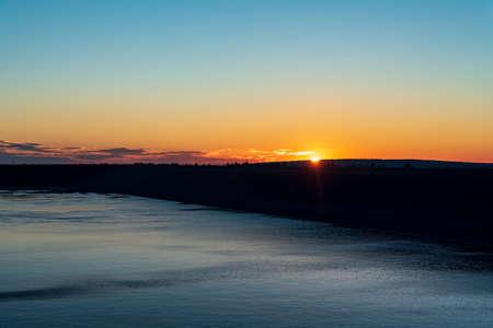 Sunrise with orange sky and few clouds on Dlouhe strane in Jeseniky mountains in Czech republic Reklamní fotografie