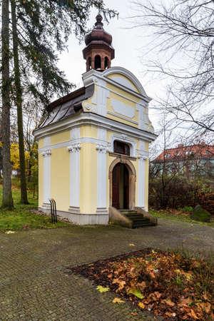Chapel near Kostel Nejsvetejsi Trojice in Novy Jicin city in Czech republic during cloudy late autumn day