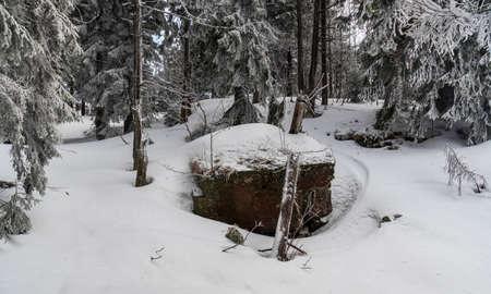 Mysterious Certuv stul rock formation with frozen trees around on Certuv mlyn hill summit in winter Moravskoslezske Beskydy mountains in Czech republic Reklamní fotografie