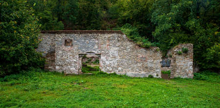 Ruins of Devet mlynu mills near Dyje river in Podyji national park in Czech republic near Znojmo city