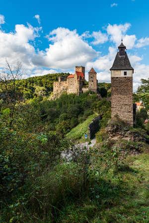 Hardegg castle above Thaya river in Austria near boders with Czech republic