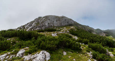 Rocky limestone Piatra Iorgonalui hill in Retezatul Mic mountains in Romania