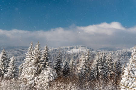 View from Bily kriz in winter Moravskoslezske Beskydy mountains in Czech republic with frozen forest, hills, bluie sky with clouds and drifting snow