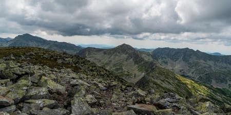 View from Varful Retezat mountain peak summit in Retezat mountains in Romania