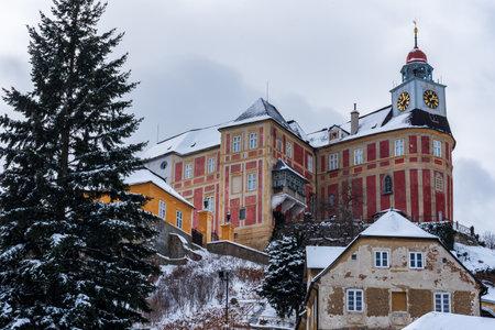 Jansky vrch chateau in Javornik town in Czech republic during cloudy winter day Redakční