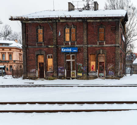 Abandonen railway station Karvina - mesto in Karvina city in Czech republic during winter