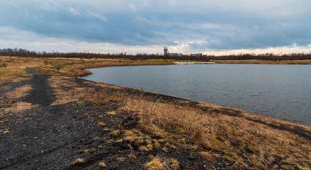 Karvinske more lake near Karvina city in Czech republic with Dul Darkov on the background in Czech republic