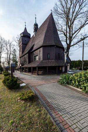 KoscioÅ' Wszystkich Swietych wooden church in Laziska village in Poland - oldest wooden church in Silesia region built in 1467 Reklamní fotografie
