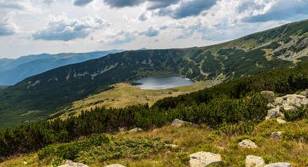 Lacul Zanoaga Mare mountain lake in Retezat mountains in Romania