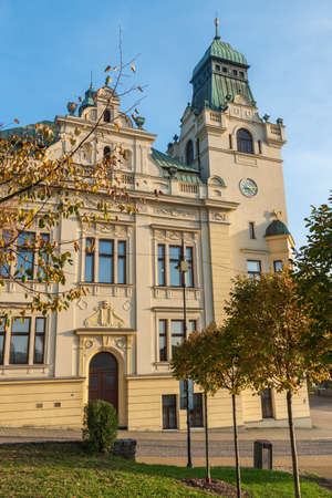 Slezskoostravska radnice town hall in Ostrava city in Czech republic during autumn day with clear sky