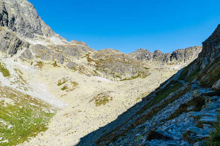 Highest part of Velicka dolina valley in Vysoke Tatry mountains in Slovakia during beautiful autumn day with clear sky