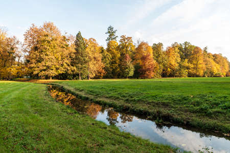 Autumn public park with creek, meadow and colorful trees - Park Bozeny Nemcove in Karvina city in Czech republic