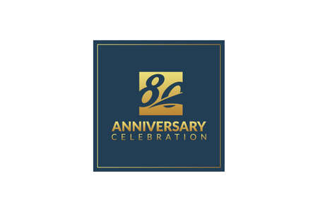 Gold 80 years gold anniversary celebration logo, isolated on white background 矢量图像