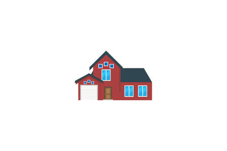 red house .Conceptual vector illustration in flat style design.Isolated on background.