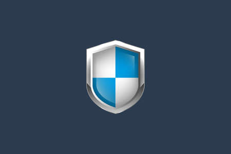 realistic protected shield.Conceptual vector illustration in flat style design.Isolated on background.
